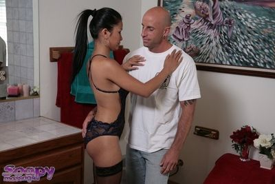 Saucy asian masseuse has some foamy and wet fun with her client\