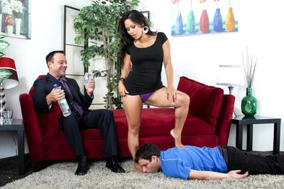 Busty Asian Jessica Bangkok is facesitting one man and allowing another to fuck her beaver