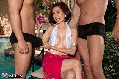 Two cocks for an asian wifes asshole in anal threesome