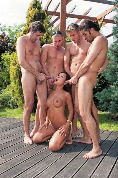 Jade the asian slut takes on four rock hard throbbing cocks