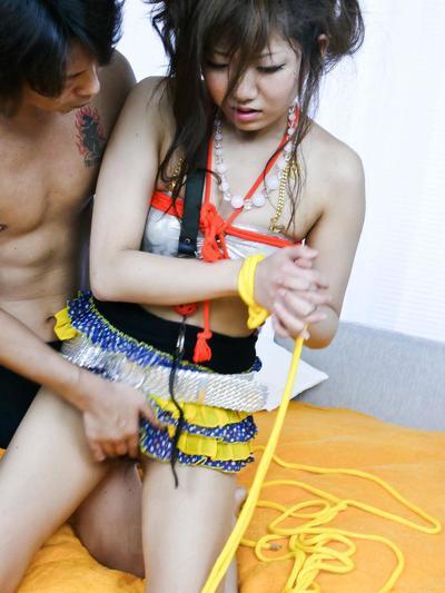 Asian fetish freak Mahiru Tsubaki gets bound and gagged and treated to toys & masturbation