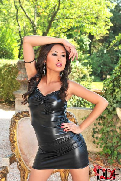 Cute Asian babe Davon Kim looks gorgeous in this leather lingerie and her horny holes are amazing