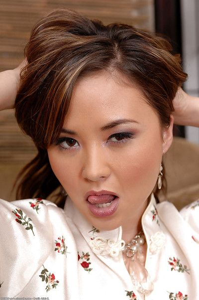 Tiny Asian amateur Kita Zen exposing tiny tits on casting couch