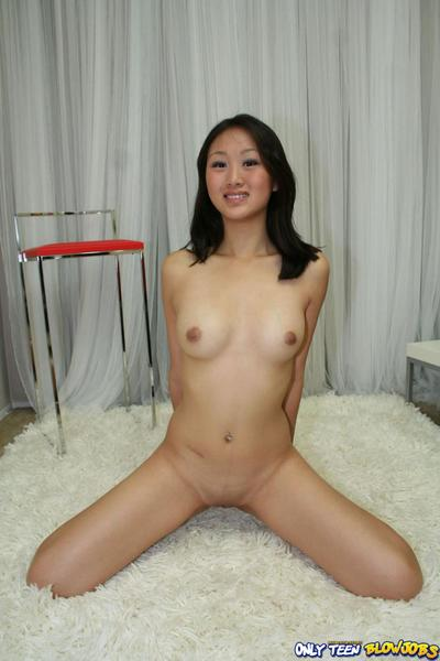 Asian cutie Evelyn Lin with small tits and smooth pussy gets her exotic mouth banged