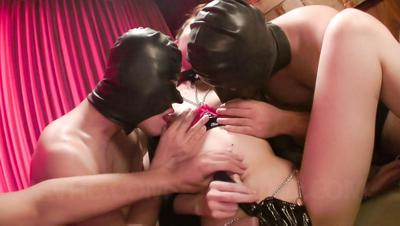 Guys in leather masks treat tiny Asian Ria Sakurai with toys & masturbation