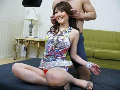 Pretty Asian Huwari has two guys treat her to some toys & masturbation