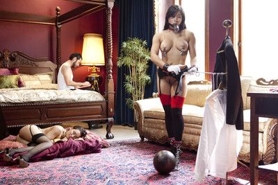 When house slave mia li breaks the rules, the master of the house takes gabriell