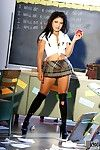 Sexy Asian college girl Kaylani Lei takes off school uniform staying only in stockings