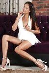 Leggy Asian solo girl in high heels with meaty labia lips fingering asshole