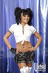 Asian babe in white stockings and mini skirt Kaylani Lei stripping