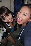Young Asian amateur Alina Li and friend flashing flat chests in change-room