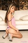 Cute flat chested asian babe Kitty Jung takes off her pink panties and parts her legs
