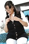 Curvy asian babe in glasses Mika Tan undressing and playing with her big tits