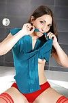 Dark hair solo girl Jimena displaying soaked panties right after chemical play she\'s