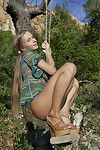 Gorgeous teenage babe Milena spreads her tight pussy outdoors