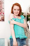 Redhead teen beauty unbuttons her dom and dears her arousing natural milk cans