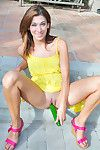 Lusty chico stuffing her shaved twat in staggering outdoor solo