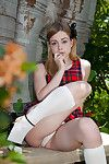 Amazing fairy juvenile Alaina Fox location her sexy underclothing in outdoor session