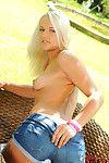 Thin blonde Evelyn enjoys outdoor deep masturbation solo scene