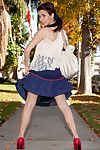 Juvenile babe flashes her underwear during in outdoor solo action which makes her passionate