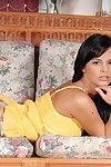 Tight raven haired angel Brown Angelica strips naked and fist makes love herself.