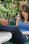 Brown haired smooth on top snatch babe Malena Morgan poses entirely without clothes in the backyard