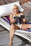 Blond gal Kacey Jordan pulls off her bikini and shows her constricted aperture and compact nipples