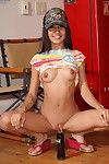 layful brown hair amateur Amia Moretti takes on a whole bunch of mean loking dildos