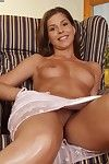 Silver dildo is deeply stuck in the tight pussyhole of lecherous redhead Megan.
