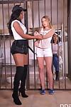 Ebony prison warden Jasmine Webb sets up lesbian act of love with detainees
