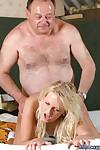 Blue-eyed blonde teen deepthroats an old mans cock before fucking