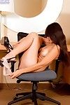 Decadent brown hair hottie Sophia Jade benefits from as mother gave birth and displays her neatly trimmed bush