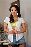 Clammy eastern hotty in fishnet  Asa Akira erotic dance and posing exposed