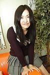 Bushy muff brunette hair Megumi widening her eastern hirsute muff