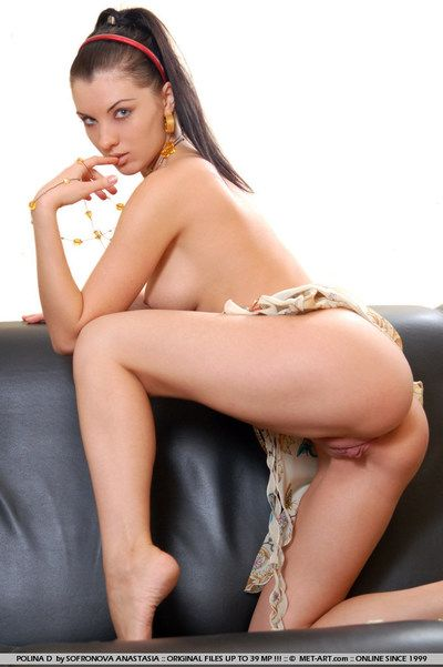 Brunette haired partition Polina D about smoothly shaved pussy poses about white pinkish