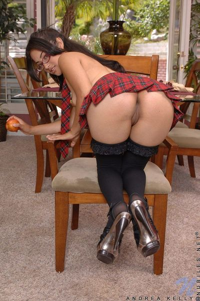 Spectacled latina widely applicable Andrea Kelly in school uniform spreads her fess up pussy close-up