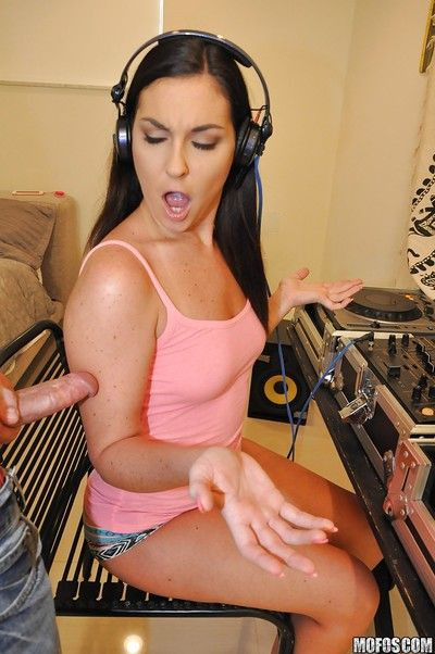 Teen first timer Brittany Shae giving a CFNM blowjob for jism on face